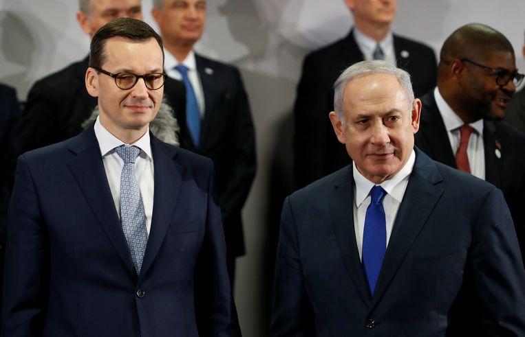 Pools premier Mateusz Morawiecki en zijn Israëlische collega Benjamin Netanyahu.
