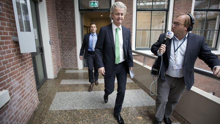 PVV-leider Geert Wilders op de weg terug van het overleg met Kamervoorzitter Gerdi Verbeet Beeld anp