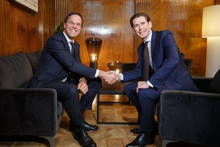 Nederlands premier Mark Rutte en Oostenrijkse leider Sebastian Kurz op een archiefbeeld