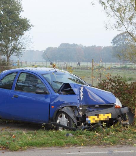 Auto botst frontaal op boom in Kaatsheuvel, bestuurder blijft ongedeerd