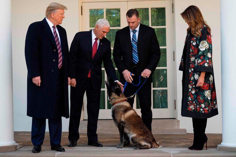 Vicepresident Mike Pence gaf de hond enkele keren een aai over de bol.