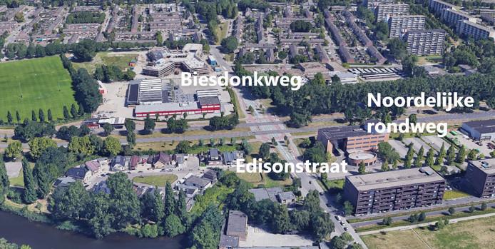Kruising noordelijke rondweg en Edisonstraat in Breda.