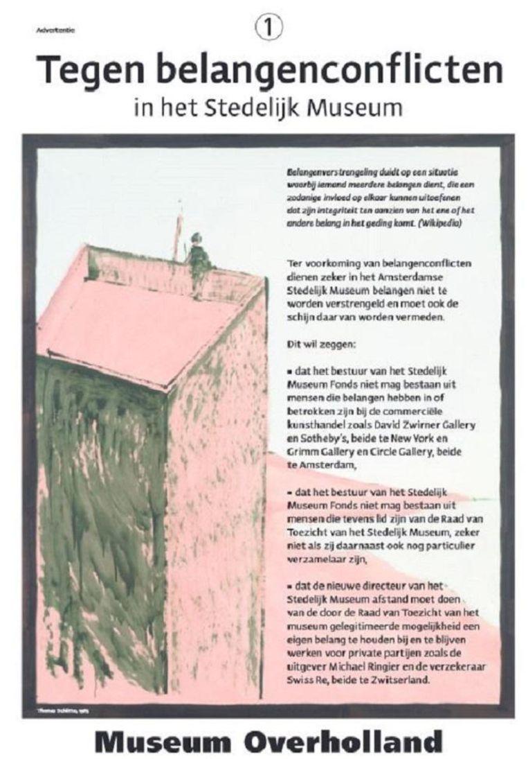 Christiaan Braun publiceerde paginagrote advertenties in onder meer de Volkskrant over mogelijke belangenverstrengeling. Beeld Christiaan Braun