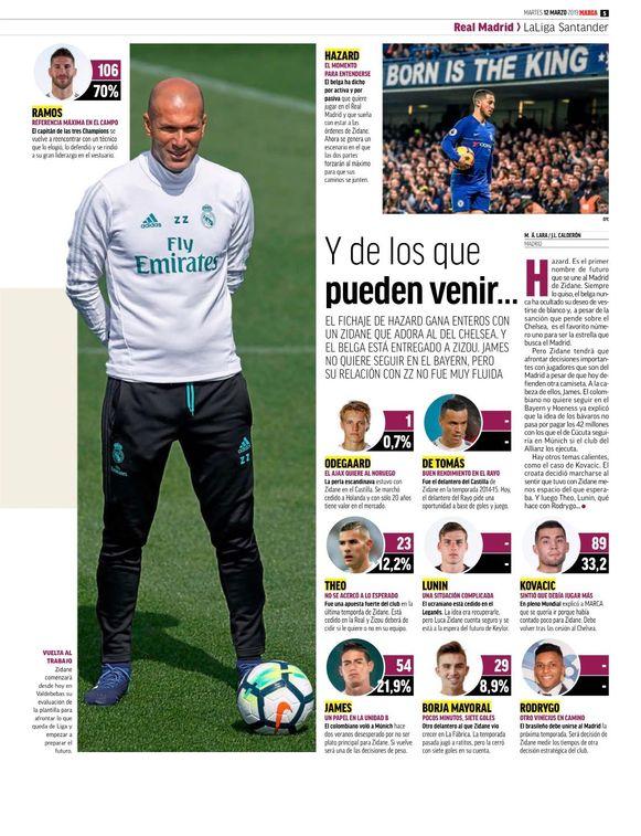 Ook L'Equipe en Marca noemen Eden Hazard de prioriteit van Zidane bij Real.