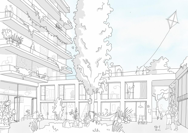 De woontoren biedt straks plaats aan vijf verdiepingen met 160 vierkante meter oppervlakte voor woongroepen met vier tot acht mensen.   Beeld Time to Access en Roel van der Zeeuw Architects