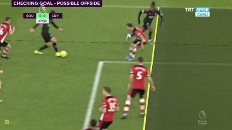 Ook Zaha zag zijn goal afgekeurd wegens héél nipt buitenspel.