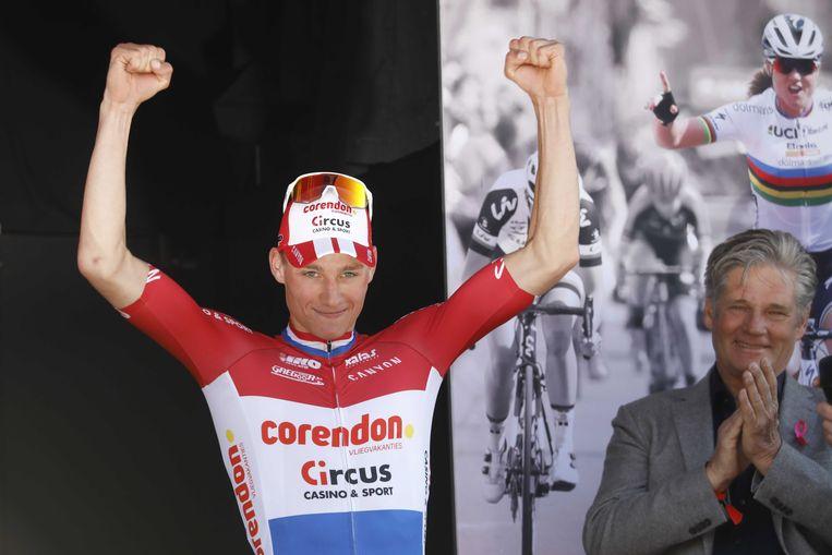 Mathieu van der Poel na zijn indrukwekkende overwinning in de Amstel Gold Race.