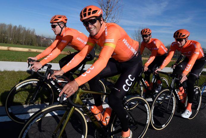 CCC of... VVVV? Van Avermaet gisteren op pad met zijn ploegmaats Van Hooydonck, Van Keirsbulck en Van Hoecke.