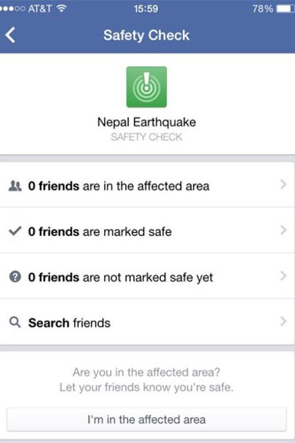 Screenshot van de veiligheidscheck van Facebook