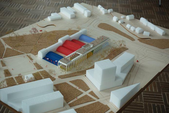Maquettestudie door de architect voor het ontwerp van het gebouw van de WFC Experience.