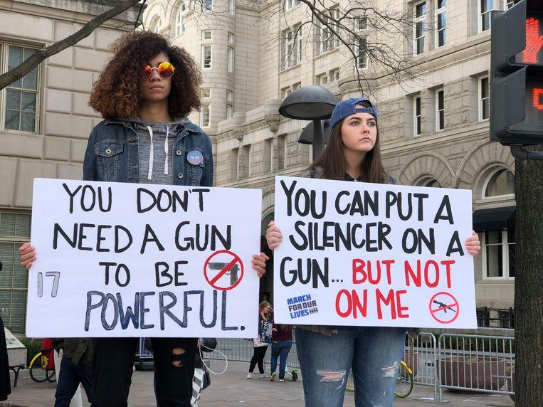 Studenten kwamen massaal in opstand tegen wapenbezit in Washington (maart 2018).  Beeld null