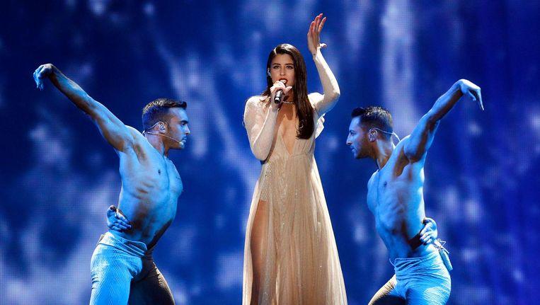 De Griekse zangeres Demy vertolkt vanavond tijdens de eerste halve finale van het Songfestival haar nummer 'This is Love'. Beeld ap
