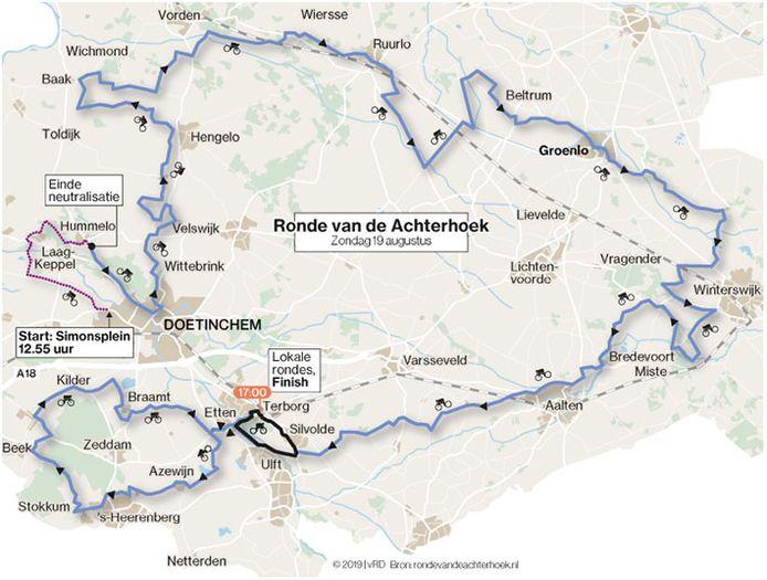 Routekaart van de Ronde van de Achterhoek, die zondag 18 augustus wordt verreden.