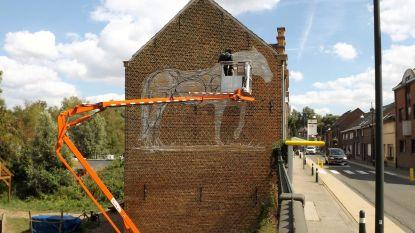 Graffitikunst Dzia siert zijgevel De Paardenstal