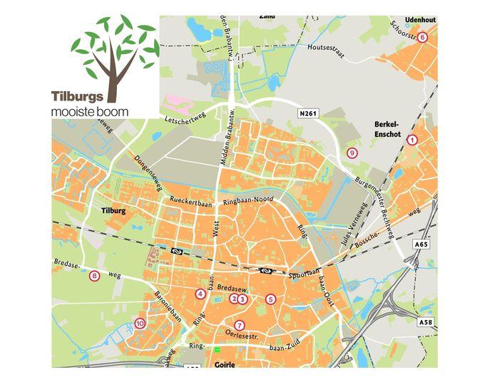 Een kaartje met alle locaties van de genomineerde bomen.