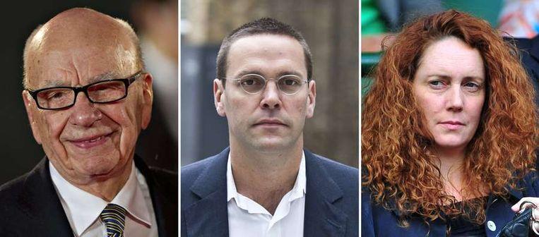 Rupert Murdoch, zoon James en Rebekah Brooks.