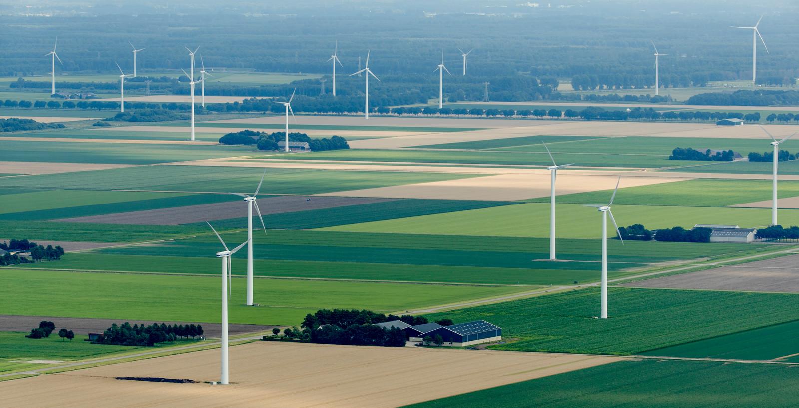Windmolens en akkers in Flevoland.