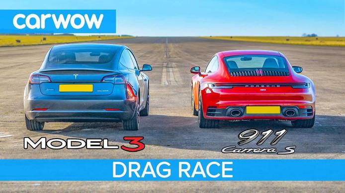Het is de raderboot versus de boot met schroef: elektrisch versus verbrandingsmotor – wie wint het duel der duels: Tesla Model 3 of Porsche 911S?