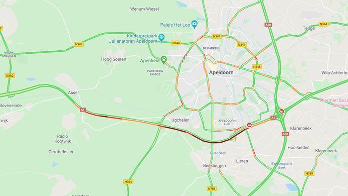 Stilstaan en langzaam rijden over een flink aantal kilometers. Dit is het beeld dat Google Maps liet zien rond half vijf donderdagmiddag.