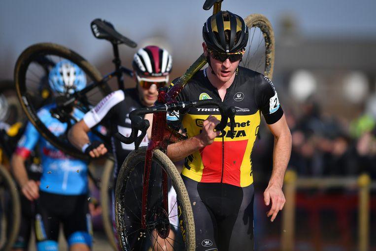 Belgian Toon Aerts pictured in action during the men's elite race of the Noordzeecross, last race of the Superprestige cyclocross competition, in Middelkerke, Saturday 16 February 2019. BELGA PHOTO DAVID STOCKMAN