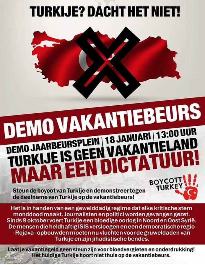 Zaterdag wordt er in Utrecht gedemonstreerd tegen de deelname van Turkije op de vakantiebeurs.