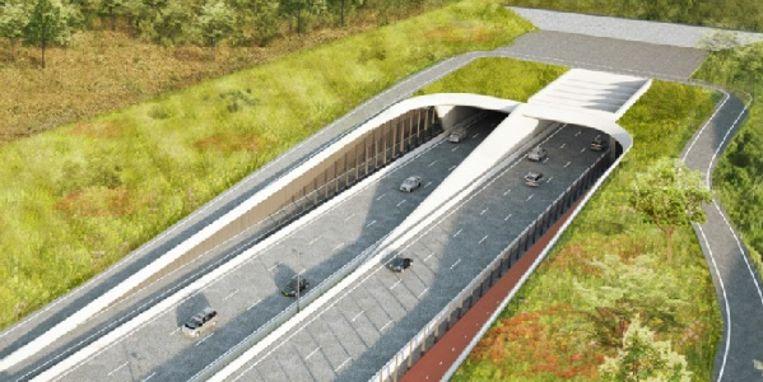 Bovenaanzicht van de tunnelmond op Linkeroever. Het fietspad rechts zal nog twee meter breder worden