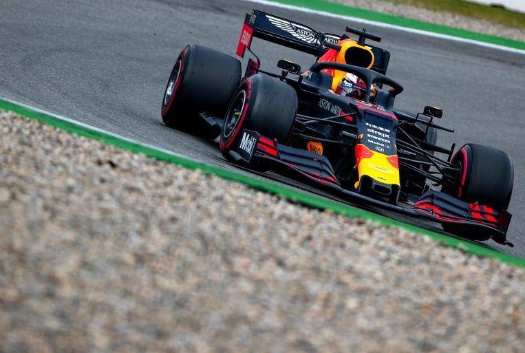 Max Verstappen van Red Bull Racing in actie tijdens de F1 Grand Prix van Duitsland. Beeld ANP