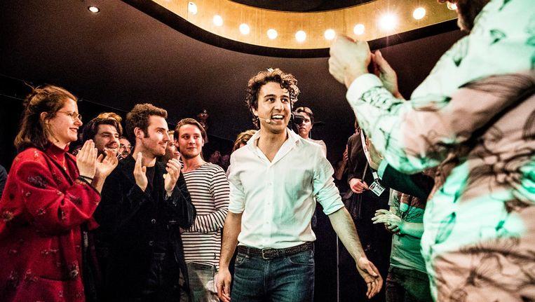 Jesse Klaver op de uitslagenavond van GroenLinks. Beeld Aurélie Geurts