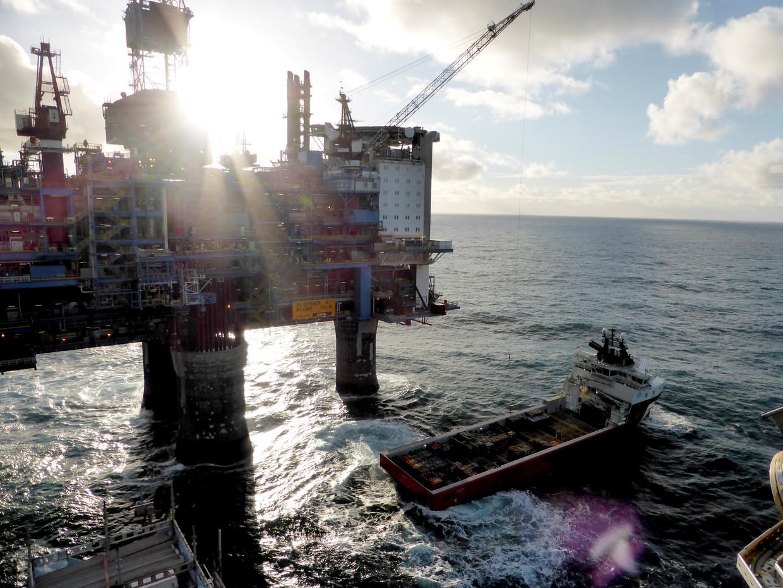 Een olieplatform voor de kust van Noorwegen.