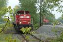 In mei reed er nog een goederentrein op het Duits Lijntje voor grot onderhoud aan het Boxtelse spoor.