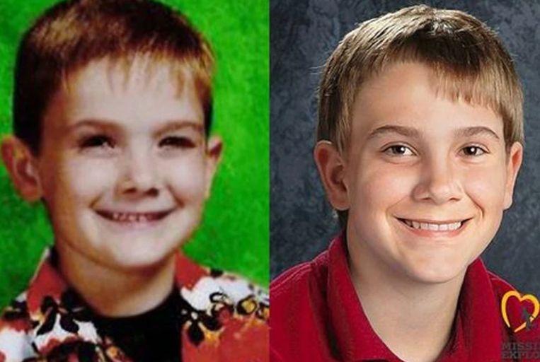 Timmoty Pitzen verdween op zevenjarige leeftijd (links). Vorig jaar lanceerde de politie een verouderingsillustratie van Pitzen als dertienjarige. (rechts)