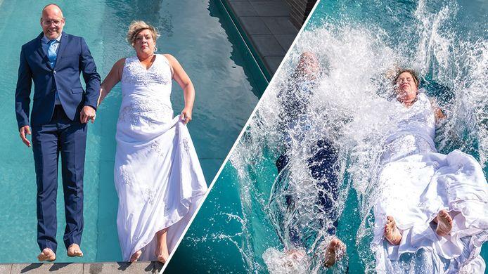 Wat als je bruiloft in het water valt? Dan maar op een creatieve manier daar mee omgaan, vonden Joost en Sabine uit Enschede