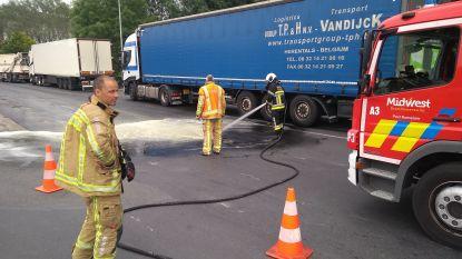 Brandweer ruimt groenteafval aan inrit van tankstation langs E403
