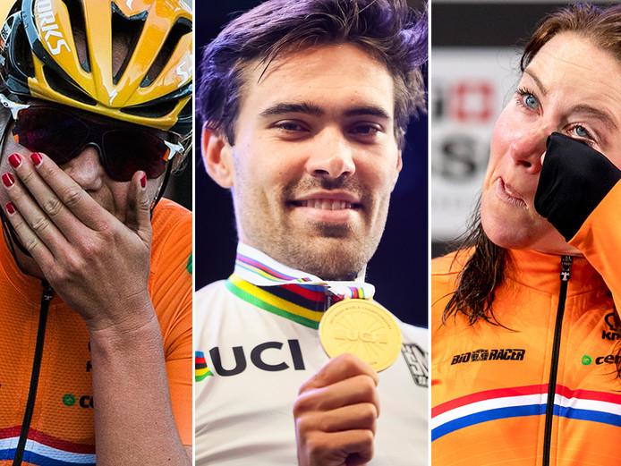 De drie kersverse Nederlandse wereldkampioen, vlnr: Chantal Blaak, Tom Dumoulin en Annemiek van Vleuten.