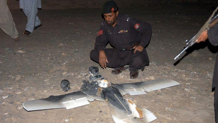 Een gecrashte drone in Pakistan. Beeld afp