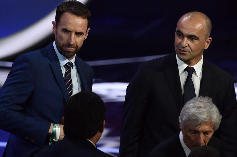 Engels bondscoach Gareth Southgate met Roberto Martínez in het Kremlin Palace afgelopen vrijdag.