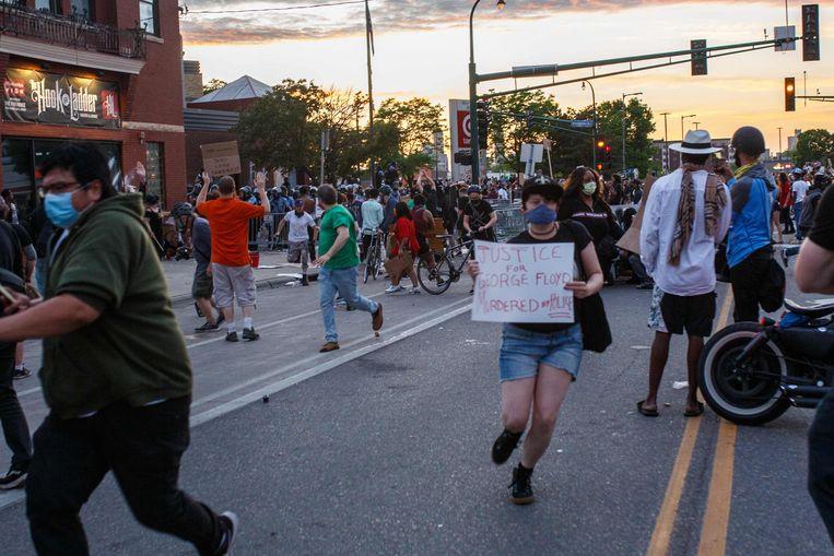Protesten in Minneapolis, Minnesota op 27 mei, 2020.   Beeld AFP
