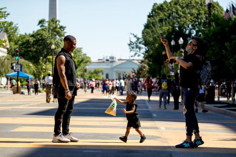 Inwoners op straat in Washington, DC.