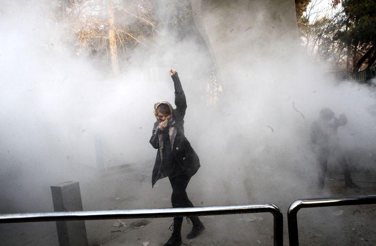 Protest aan de universiteit van Tehran.