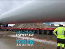 Torens van grootste windturbine ter wereld aangekomen in Rotterdamse haven