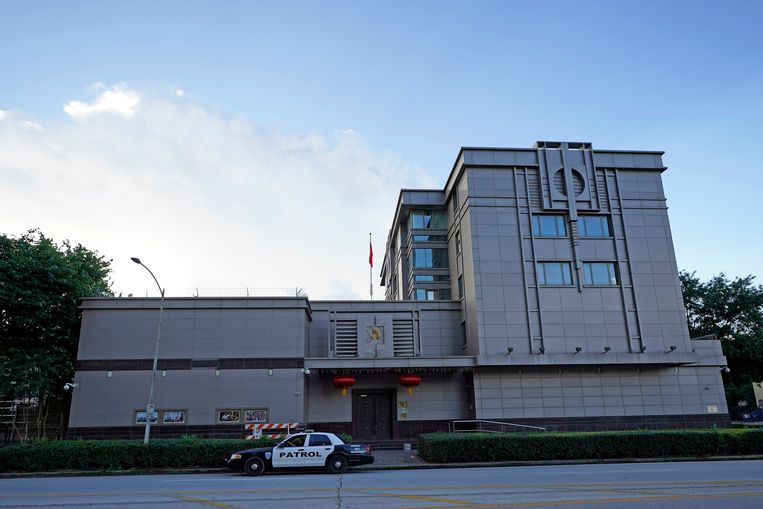 Het Chinese consulaat in Houston, dat moet sluiten. Beeld AP