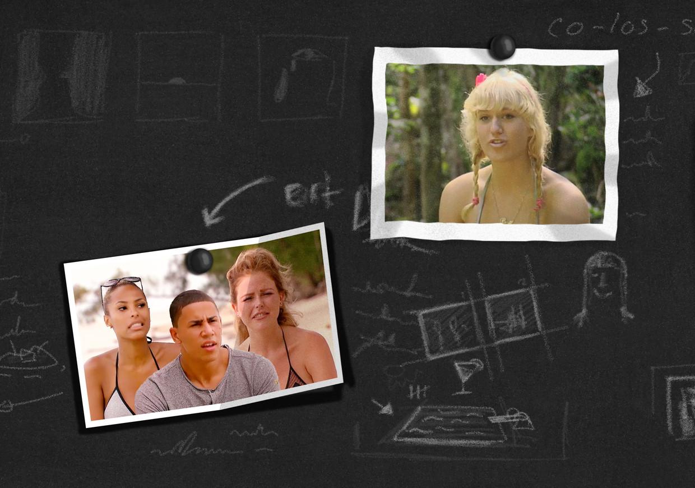 Deelnemers uit Temptation Island (links) en Britt Dekker (rechts), die in 2011 het programma 'Echte meisjes in de jungle' won.