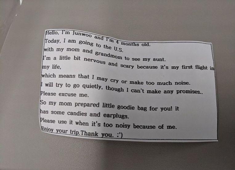 In het zakje zat ook dit aandoenlijke briefje.
