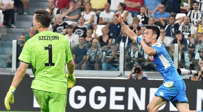 Hirving Lozano scoorde tijdens zijn debuut voor Napoli tegen Juventus. Napoli verloor wel met 4-3.