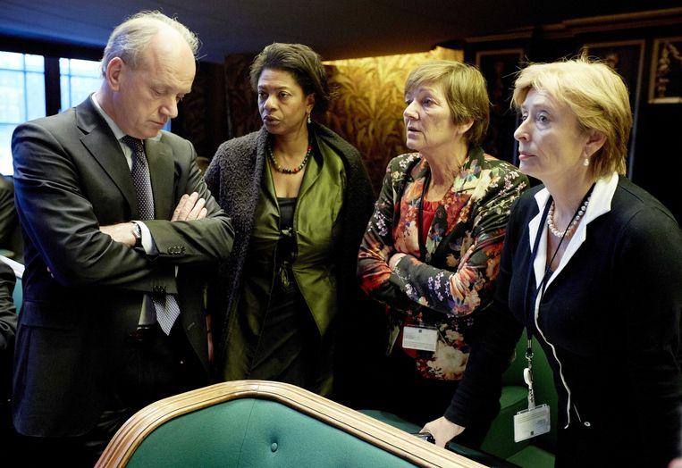 Vier senatoren van de PvdA: Ruud Koole, Joyce Sylvester, Marijke Linthorst en Guusje ter Horst. De laatste twee stemden gisteren tegen het zorgplan van minister Schippers. Beeld anp