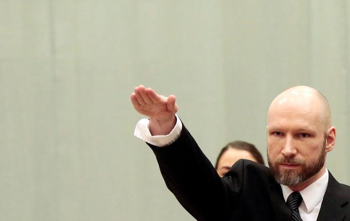 Breivik in de Noorse rechtbank.