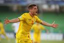 Ianis Hagi na een goal voor Roemenië tijdens het EK Onder 21, vorige week.