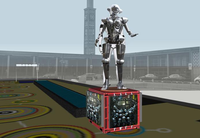 Metropolis, het beeld van de Enschedese kunstenaar Jelle de Graaf, wordt op 5 september onthuld bij de start van Gogbot.
