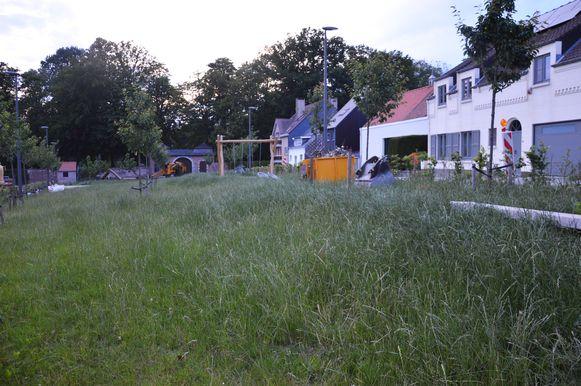 Het nieuwe speelpleintje in Neigem kan best een maaibeurt gebruiken.