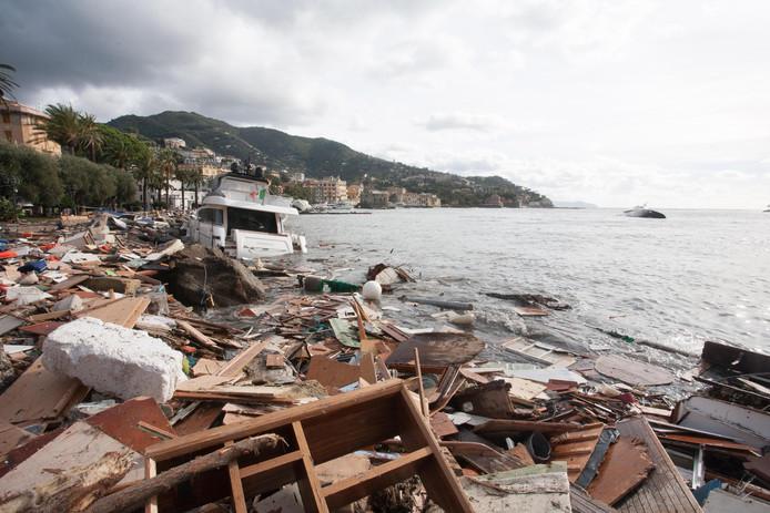 Enorme schade in Rapallo, Genoa.